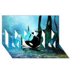 Orca Swimming In A Fantasy World MOM 3D Greeting Card (8x4)