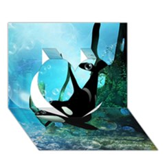 Orca Swimming In A Fantasy World Heart 3D Greeting Card (7x5)