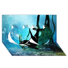 Orca Swimming In A Fantasy World Twin Hearts 3D Greeting Card (8x4)