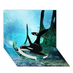 Orca Swimming In A Fantasy World Circle Bottom 3d Greeting Card (7x5)