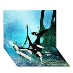 Orca Swimming In A Fantasy World LOVE Bottom 3D Greeting Card (7x5)