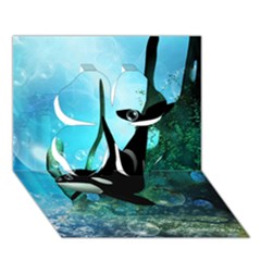 Orca Swimming In A Fantasy World Clover 3D Greeting Card (7x5)