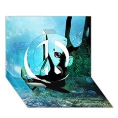 Orca Swimming In A Fantasy World Peace Sign 3D Greeting Card (7x5)