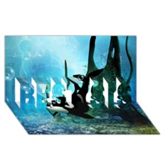 Orca Swimming In A Fantasy World BEST SIS 3D Greeting Card (8x4)