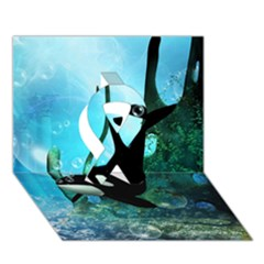 Orca Swimming In A Fantasy World Ribbon 3d Greeting Card (7x5)