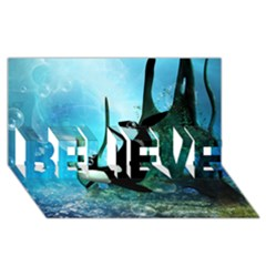 Orca Swimming In A Fantasy World BELIEVE 3D Greeting Card (8x4)