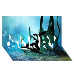 Orca Swimming In A Fantasy World SORRY 3D Greeting Card (8x4)