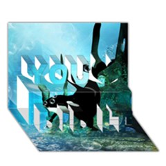Orca Swimming In A Fantasy World You Did It 3D Greeting Card (7x5)