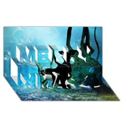 Orca Swimming In A Fantasy World Merry Xmas 3d Greeting Card (8x4)