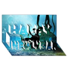 Orca Swimming In A Fantasy World Happy New Year 3D Greeting Card (8x4)