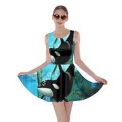 Orca Swimming In A Fantasy World Skater Dresses