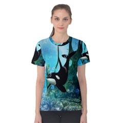 Orca Swimming In A Fantasy World Women s Cotton Tees