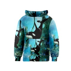 Orca Swimming In A Fantasy World Kid s Pullover Hoodies
