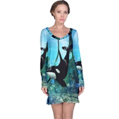 Orca Swimming In A Fantasy World Long Sleeve Nightdresses