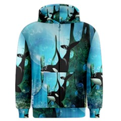 Orca Swimming In A Fantasy World Men s Zipper Hoodies