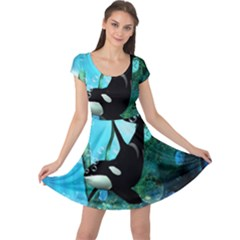 Orca Swimming In A Fantasy World Cap Sleeve Dresses