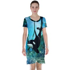 Orca Swimming In A Fantasy World Short Sleeve Nightdresses