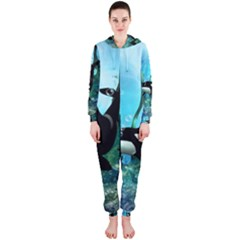 Orca Swimming In A Fantasy World Hooded Jumpsuit (Ladies)