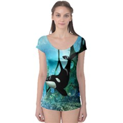 Orca Swimming In A Fantasy World Short Sleeve Leotard