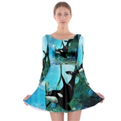 Orca Swimming In A Fantasy World Long Sleeve Skater Dress