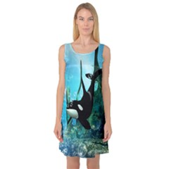 Orca Swimming In A Fantasy World Sleeveless Satin Nightdresses