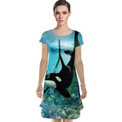 Orca Swimming In A Fantasy World Cap Sleeve Nightdresses