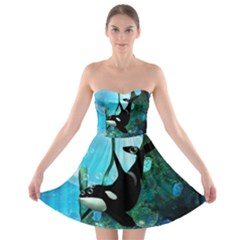 Orca Swimming In A Fantasy World Strapless Bra Top Dress