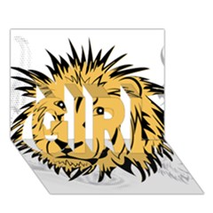 Lion GIRL 3D Greeting Card (7x5)
