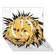 Lion Peace Sign 3D Greeting Card (7x5)
