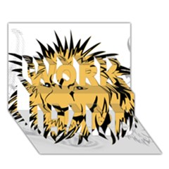 Lion WORK HARD 3D Greeting Card (7x5)