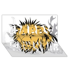 Lion Happy New Year 3D Greeting Card (8x4)