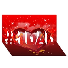 Heart #1 Dad 3d Greeting Card (8x4)