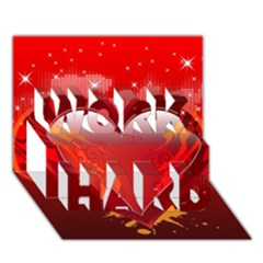 heart WORK HARD 3D Greeting Card (7x5)