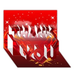 heart THANK YOU 3D Greeting Card (7x5)