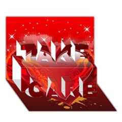 heart TAKE CARE 3D Greeting Card (7x5)