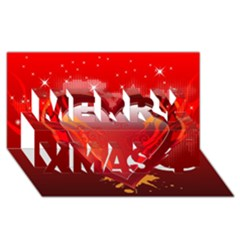 heart Merry Xmas 3D Greeting Card (8x4)