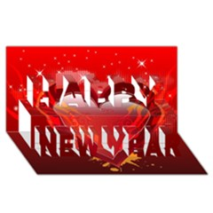 heart Happy New Year 3D Greeting Card (8x4)