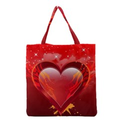 heart Grocery Tote Bags
