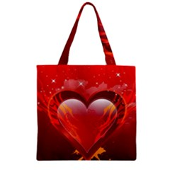heart Zipper Grocery Tote Bags