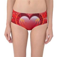 Heart Mid Waist Bikini Bottoms