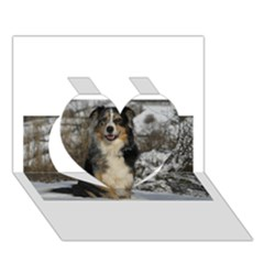 Australian Shepherd In Snow 2 Heart 3D Greeting Card (7x5)