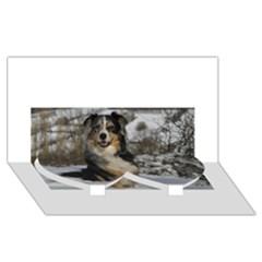 Australian Shepherd In Snow 2 Twin Heart Bottom 3D Greeting Card (8x4)