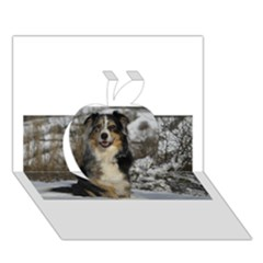 Australian Shepherd In Snow 2 Apple 3D Greeting Card (7x5)