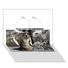 Australian Shepherd In Snow 2 Clover 3D Greeting Card (7x5)