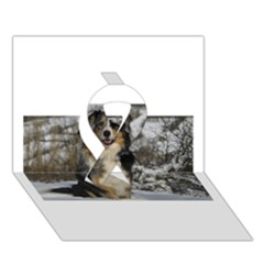 Australian Shepherd In Snow 2 Ribbon 3D Greeting Card (7x5)