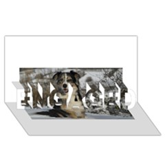 Australian Shepherd In Snow 2 ENGAGED 3D Greeting Card (8x4)