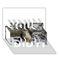 Australian Shepherd In Snow 2 You Did It 3D Greeting Card (7x5)