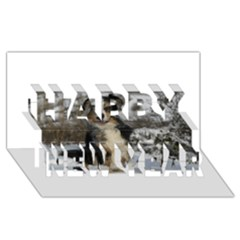 Australian Shepherd In Snow 2 Happy New Year 3D Greeting Card (8x4)