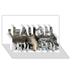 Australian Shepherd In Snow 2 Laugh Live Love 3D Greeting Card (8x4)