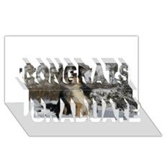 Australian Shepherd In Snow 2 Congrats Graduate 3D Greeting Card (8x4)